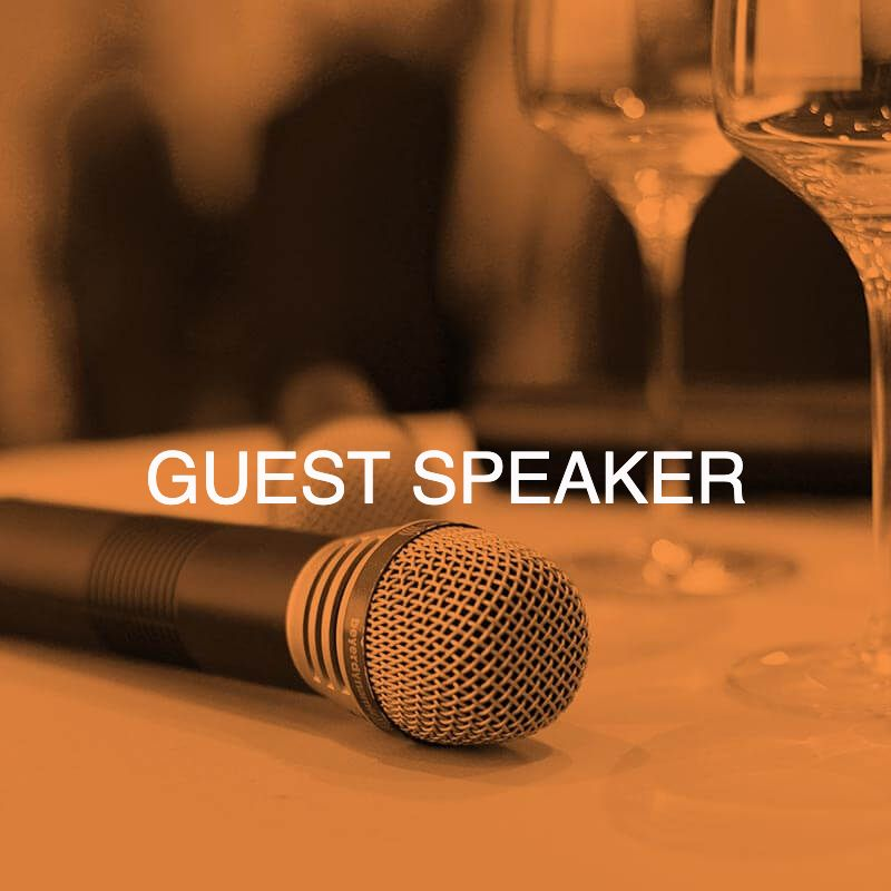 Microphone with guest speaker Cathy O'Toole